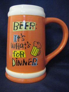 Hallmark Shoebox Beer Stein Orange Beer it's whats for Dinner Man Cave