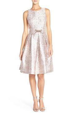 Eliza J Embellished Metallic Jacquard Fit & Flare Dress (Regular & Petite) available at #Nordstrom