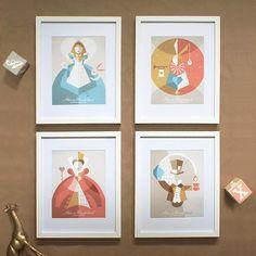 11x14 Alice in Wonderland Minimalist Print SERIES // Retro Pop Art // Geometric…