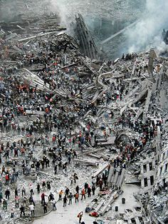 9/11 - Ground Zero cleanup, w/bucket brigades seen all over the pile
