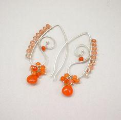 Orange Carnelian Gemstone Cluster Argentium Sterling Wire Frame Earrings. $52.00, via Etsy.