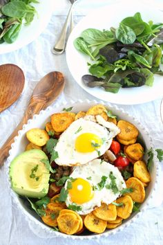 Breakfast taco salad - paleo and whole30 friendly - with easy homemade plantain chips!  Spicy savory breakfast anytime perfection!