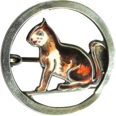 Vintage Enamel Calico Cat Pin, Sterling Silver, Germany There is something so appealing about cats, especially a sweet, little calico.  She is a
