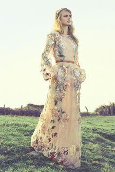 peach lace Valentino floral dress