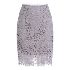 SheIn(sheinside) Grey Floral Crochet Lace Skirt ($16) ❤ liked on Polyvore featuring skirts, grey, crochet lace skirt, floral knee length skirt, grey skirt, flower print skirt and gray skirt