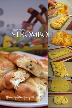 Low Carb stromboli (calzone) from Up Late Anyway - dip in marinara! Could do ham and cheese or chicken and broccoli with cheddar, or a greek version with chicken or gyro meat and feta, or italian sausage, green peppers and mushrooms. Yum! Need to try this!!!!