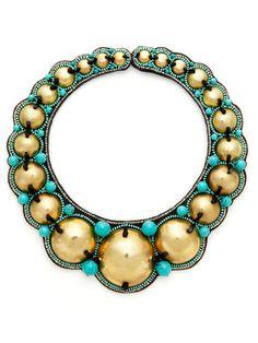 Ranjana Khan Turquoise Dome Bib Necklace