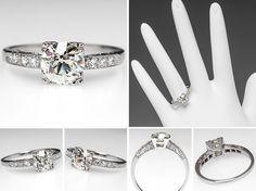 Vintage Eco Friendly Engagement Ring Old Euro Diamond Platinum