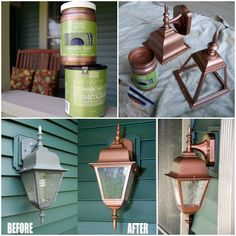 """Susan from Living Rich on Less upgraded her """"blah"""" exterior lights with our Copper Penny Metallic Paint and MasterClear® Supreme Clear Coat!"""