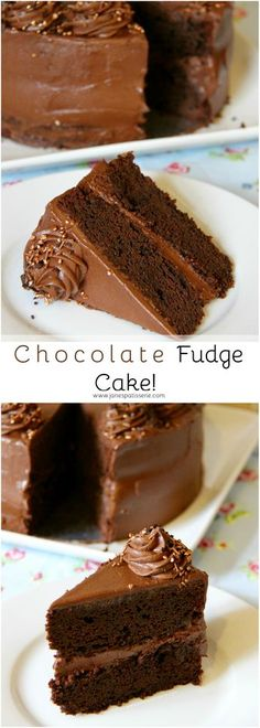 Chocolate Fudge Cake! ❤️ A Moist Chocolate Fudge Cake Sponge, topped & filled with The BEST Chocolate Frosting you will ever make!