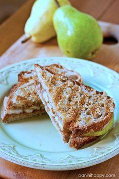 Granola-Crusted Pear Almond Butter Panini [Panini Happy] // Perfect for fall!