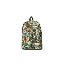 Floral Canvas Backpack ($37) ❤ liked on Polyvore featuring bags, backpacks, accessories, canvas knapsack, backpacks bags, floral print bags, rucksack bag and green canvas bag