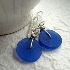 ABstraKt Disc Earrings in  ultramarine   by Quercus Silver