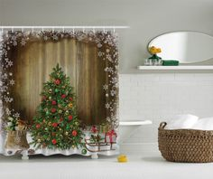 Family Decor Christmas Holiday Designer's Collection Digital Graphic Print Christmas Morning Shower Curtain Non Vinyl Waterproof Resistant w/ hooks