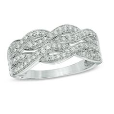 3/8 CT. T.W. Diamond Double Row Braided Band in 10K White Gold - View All Rings - Zales