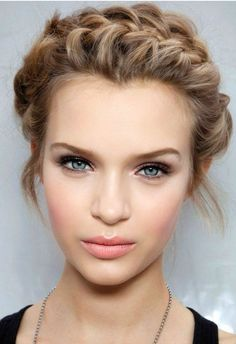 I like the front hair braid idea here for the wedding - off the face and very rustic looking.