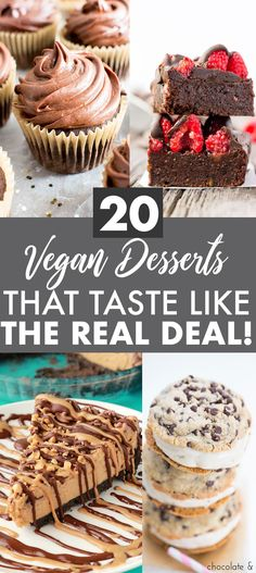 Vegan desserts that taste like real dessert! Delicious, healthy, dairy free treats that will satisfy any sweet tooth! Here is a list round up of 20! Enjoy || Nikki's Plate www.nikkisplate.com
