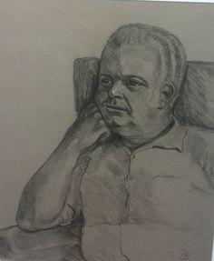 """My father"" monochromatic portrait by artist Pam Siderewicz   BVAA"
