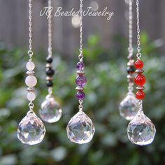 Gemstone Crystal Car Charms Smoky Quartz, Rose Quartz, Amethyst, Carnelian, Black Onyx