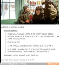 Harry and Neville,,,but couldn't he just grab it with the cloak wrapped around his hand?