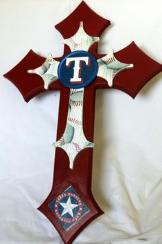 Texas Rangers Cross by Melody Pelham-Dvorak