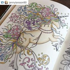 """""""Found this amazing colorful unicorn at #dagdrömmar Its a page from my coloring book Dagdrömmar/Daydreams✨Its a Repost from @jennylarsson90 ✨I love seeing…"""""""