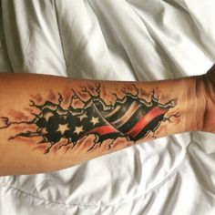 Thin red line American Flag Ems Tattoos, Freedom Tattoos, Line Tattoos, Future Tattoos, Body Art Tattoos, Small Tattoos, Sleeve Tattoos, Tattoos For Guys, Cool Tattoos