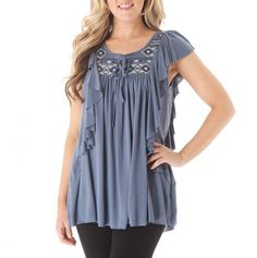 Embroidered Cascading Ruffle Top