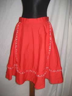 Vintage 60s 70s Red Heart Ruffles Square Dancing Rockabilly Skirt - Small / XS by Tindashop on Etsy