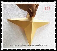 A Arte de Ensinar e Aprender: Estrela 3D em dobradura Triangle, 3d, Teaching, Diy Creative Ideas, Crafts, Creativity, Stars, Glass Display Case, Xmas