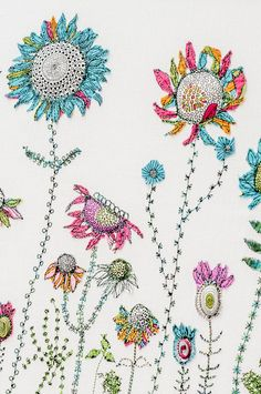 Colourful applique and free-machine embroidery.