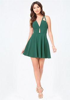 bebe Crisscross Plunge Dress