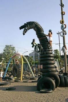 Tire playground.
