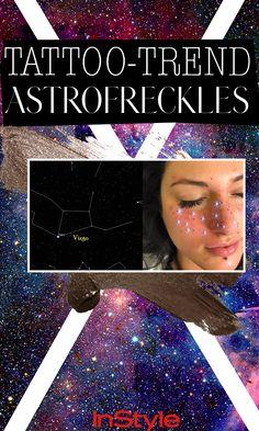 Neuer Tattoo-Trend: Astro-Frecks! Sommersprossen in Form deines Sternzeichen-Sternbildes. #astrofrecks #tattoos #freckles