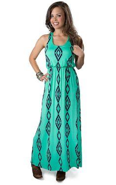 Karlie Women's Mint with Navy Aztec Print Sleeveless Maxi Dress