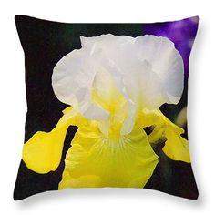 """Delicate Impression White and Yellow Iris Throw Pillow 14"""" x 14"""""""