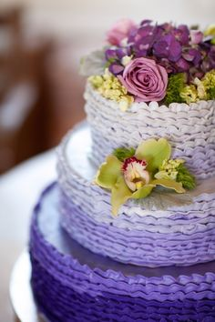 Gorgeous purple ombre ruffle cake! // photo by Elizabeth Scott Photography
