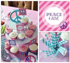 love the peace cupcake stand! Sweet Corner, Art Party, Party Themes, Party Ideas, Creative Words, Birthday Parties, Birthday Ideas, Party Printables, Cupcake Toppers