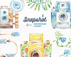 Vintage Cameras. 10 Handpainted clipart wedding by OctopusArtis