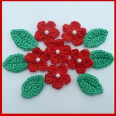 6 small red flowers with 6 leaves, crochet appliques and embellishments