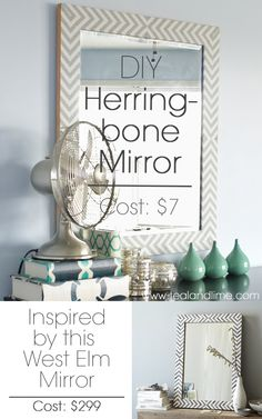 DIY West Elm-Inspired Herringbone Mirror | tealandlime.com