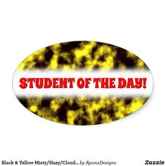 Shop Black & Yellow Misty/Hazy/Cloudy/Foggy Pattern Oval Sticker created by AponxDesigns. Yellow Pattern, Cool Diy, Black N Yellow, Stickers, Cool Stuff, Abstract, Day, Encouragement, Design