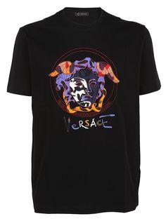 Versace Graffiti Logo T-shirt In Black Versace Men, Print Logo, Graffiti, Short Sleeves, Chanel, Logos, Prints, Mens Tops, Cotton