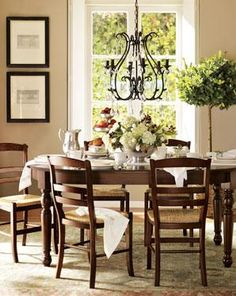 Pottery Barn Paint is Benjamin Moore Bleeker Beige Kitchen Paint Colors With Cherry, Kitchen Colors, Bleeker Beige, Dining Chairs, Dining Table, Dining Rooms, Dinning Set, Round Dining, Room Chairs