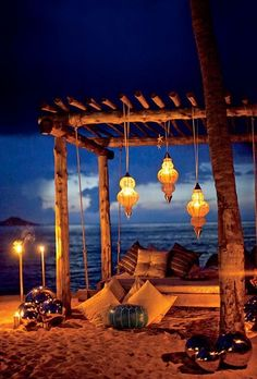night beach chill lamps sand