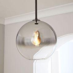 Sculptural Glass Globe Pendant, Medium Globe, Silver Ombre Shade, Bronze Canopy at West Elm - Pendants - Home Lighting - Hanging Lights Cool Ideas, West Elm, Bronze, Pergola, Hallway Lighting, Park Lighting, Island Lighting, Lighting Ideas, Houses