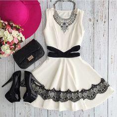 Cut Out Lace Sleeveless Women Skater Dress | Daisy Dress for Less | Women's Dresses & Accessories