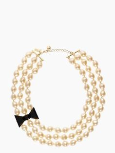 black tie optional triple strand pearl necklace - kate spade new york. Super cute!