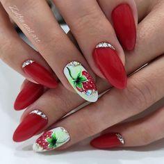 Fruit Nail Designs, Best Nail Art Designs, Gelish Nails, Nail Manicure, Almond Nails Designs Summer, Fruit Nail Art, Bright Summer Nails, Short Nails Art, Xmas Nails