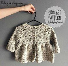 PATTERN: Penelope Cardigan Baby Infant Toddler crochet | Etsy Crochet Girls, Crochet For Kids, Love Crochet, Crochet Baby, Knit Crochet, Velvet Acorn, Crotchet Patterns, Crochet Cardigan Pattern, Knitting Patterns